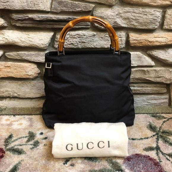 96e40d0a032 Gucci Handbags - Gucci Bamboo Handles Black Handbag